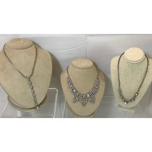 VTG Rhinestone Crystal Statement 3 Necklace Lot